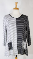 Half and Half Black and White Striped Top by Comfy USA