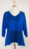 Patchwork Cobalt V-Neck Top by Dairi