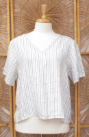 FLAX Short Sleeved Linen Crop Top (2 colors)