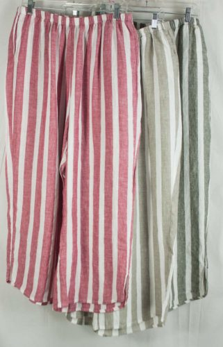 Flax Striped Airy Flood Pants 3 Colors Women Of Substance