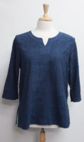 """Embroidered Split-Neck Top by """"Focus"""" (3 colors)"""