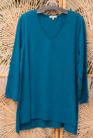 "Moroccan Teal Deep Hem V-Neck Tunic by ""Habitat"""