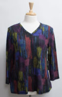 "Watercolor Soft Fleece V-neck Top by ""Habitat"""