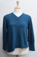 "V-Neckline Angled Ribbed Hem Sweater by ""Habitat"" (2 colors)"