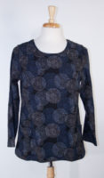 "Komil Blue ""Fossil"" Print Top with Pockets"