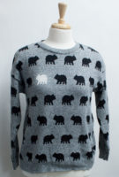 """Gray and Black """"Bear Naked"""" Sweater by """"Parkhurst"""""""