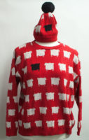 """Red and White """"Holy Sheep"""" Sweater by """"Parkhurst"""""""