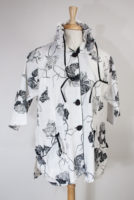 """Ginko"" Print White Jacket with Positionable Collar"