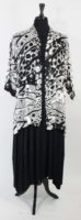 Simply Silk Flat Front Silk Jacket - Black and White