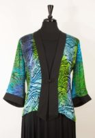 Simply Silk - Frog Closure Jacket, Blue-green Burnout Print