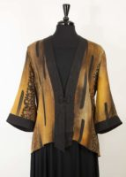 Simply Silk - Frog Closure Jacket, Copper Print