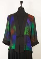 Simply Silk - Frog Closure Jacket, Dark Jewel Tone Print