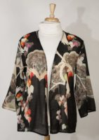 COcoon House 3/4 Length Sleeve Wool Lightweight Jacket - Crane Print