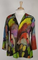 Cocoon House 3/4 Sleeve Lightweight Wool Jacket - Jewels Print