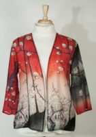 Cocoon House 3/4 Sleeve Lightweight Wool Jacket - Red Print