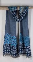 Asian Eye Wool Scarf - Zeebu (Blue)