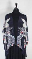 Cocoon House - Long Silk Open Kimono - The Crane
