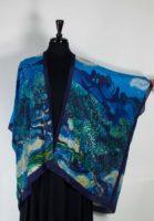 Cocoon House - Long Silk Kimono Open Jacket - Orchard Skies