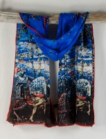 """Cocoon House Silk Scarf - """"Couple Riding"""""""