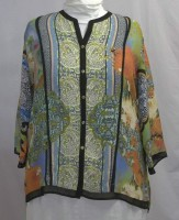 Citron Silk Button Front Jacket - Asian Floral