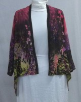 Citron Silk Open Jacket, Red Floral