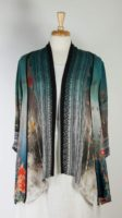 Citron Long Open Silk Jacket