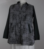 Comfy USA Blouse - Grey and Black