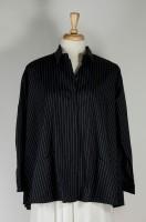 Comfy USA Myriam Shirt - Black Pinstripe