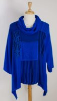 Diari - Mix Fabric Cowl Neck Top (2 Colors)
