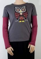 """green 3"" Organic Cotton Long-sleeve - Owl"