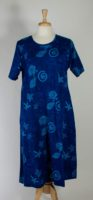 La Cera Short Sleeve Blue Cotton Knit Dress