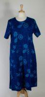 La Cera Short Sleeve Blue Cotton Knit Dress