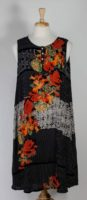 La Cera Black Floral Sleeveless Rayon Dress