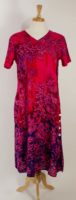 La Cera - Short Sleeve Rayon Dress - Fuchsia