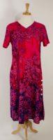 La Cera - Short Sleeve Rayon Dress - Fuchsia