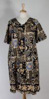 La Cera V-neck Tan & Black Cotton Dress