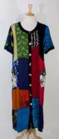 La Cera - Long Patchwork Short Sleeve Dress