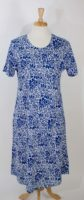 La Cera - Cotton Knit Dress - Blue & White Floral