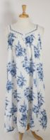 La Cera - White Sleeveless Nightgown with Blue Flowers
