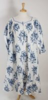La Cera - Blue & White Button Front Nightgown/Robe
