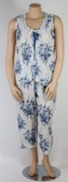 La Cera - Sleeveless Blue & White Pajama Set