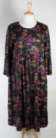 La Cera - Long Sleeve Cotton Dress - Black Floral