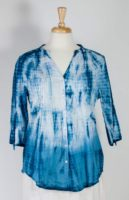 La Cera Blue Tie-Dye Cotton Blouse