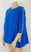 LuLu-B  3/4 Open-Weave-Sleeve Cotton Gauze Top