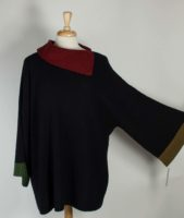 Margaret Winters - REVERSIBLE Wide Sleeve Sweater with Asymmetrical Collar
