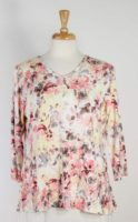 Parsley & Sage - Pink Floral Top with Flutter Back