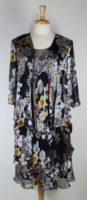 Simply Silk - Embossed Silk Dress Set - Black Floral