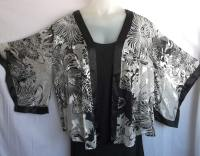 Simply Silk Kabuki Jacket, Black & White Floral