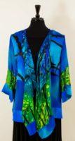 Simply Silk - Blue-Green Silk Ruffle Front Open Kimono