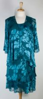 Simply Silk - Darker Teal Burnout Silk Dress Set